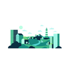 town with wild nature and urban glass buildings vector image