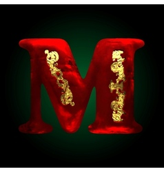 Velvet m letter with gold vector