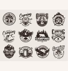 vintage monochrome summer adventure logos vector image