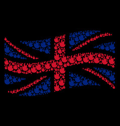 waving united kingdom flag mosaic of fire flame vector image