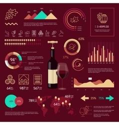 Wine infographic on vinous background vector