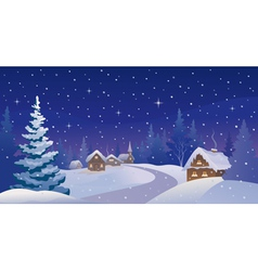Winter night village vector image