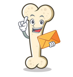 With envelope bone character cartoon mascot vector
