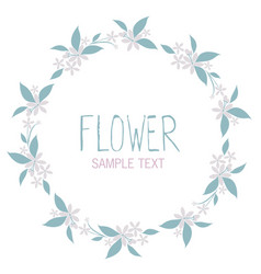wreath of flowers and leaves isolated on white vector image