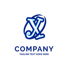 x company name design blue logo design vector image