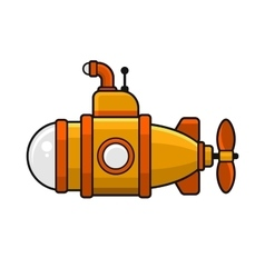 Yellow Submarine with Periscope Icon Flat Style vector