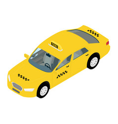 yellow taxi car isometric view public vector image