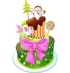 christmas cake isolated on white background vector image vector image