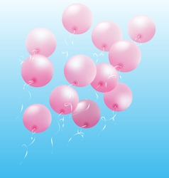 Pink inflatable air balls fly on sky vector