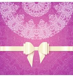 Pink romantic vintage wedding invitation vector image