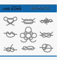 sea knots - outline icons vector image vector image