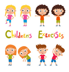 set of different girls in exercises poses vector image