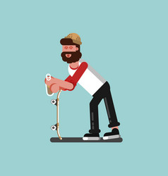 skater chilling with alcohol vector image