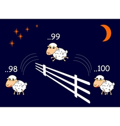 Funny cartoon sheep jumping through the fence vector image vector image