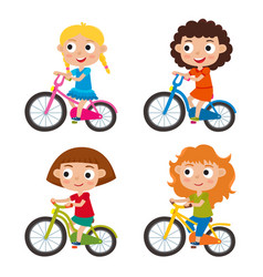 set of cartoon girls riding a bike having fun vector image vector image