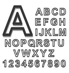 3d alphabet set black font on a white background vector image vector image
