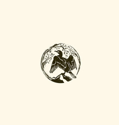 abstract round cormorant wild logo design vector image vector image