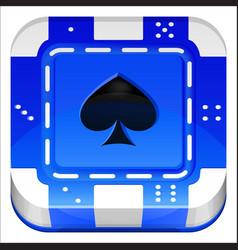 Casino poker chip 3d square app icon vector