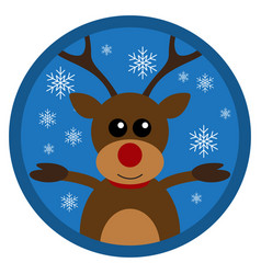 christmas funny deer flat design vector image vector image