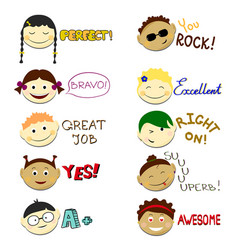 kids face set vector image vector image