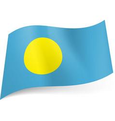 national flag of palau yellow circle on blue vector image vector image