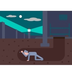Prisoner escapes from prison through a tunnel vector image