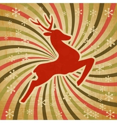 Retro Christmas Reindeer Background vector image
