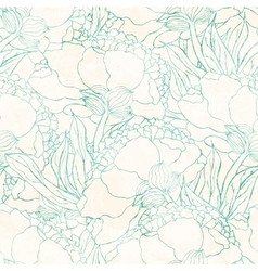 Seamless pattern with hand drawn flowers vector image vector image