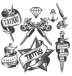set of tattoo labels in vintage vector image