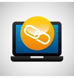 Laptop icon chain link social media vector