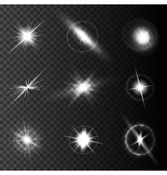 Realistic lens flares star lights and glow white vector image vector image