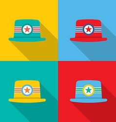 Set of Hats On Colorful Background vector image