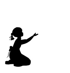 silhouette girl sitting lap with hand up vector image vector image