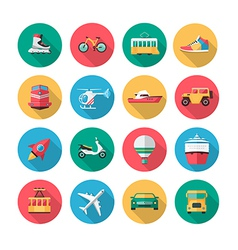 transport icons in flat style with long shadow vector image vector image