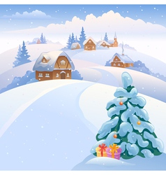 Winter village on the hills vector image vector image