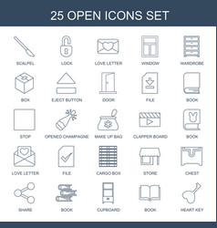 25 open icons vector image