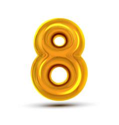 8 eight number golden yellow metal letter vector