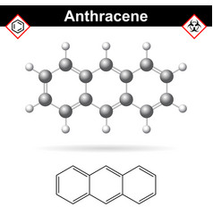 anthracene chemical molecule polycyclic aromatic vector image