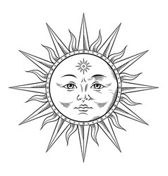 antique style sun hand drawn line art boho chic vector image