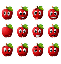 Apple with different emoticons vector
