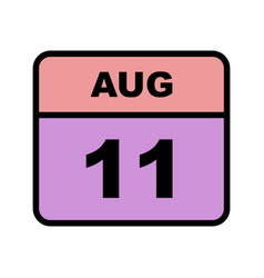 August 11th date on a single day calendar vector