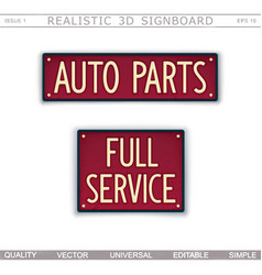 auto parts full service 3d signboard vector image