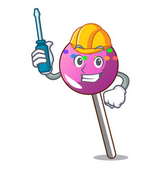 Automotive lollipop with sprinkles mascot cartoon vector