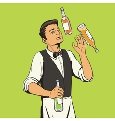 Bartender juggling bottles pop art style vector