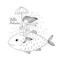 Beautiful little mermaid under an umbrella vector image