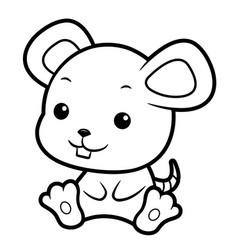 Black and white mouse character sits forward vector