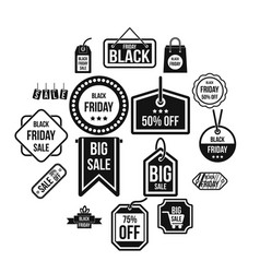 black friday icons set simple style vector image