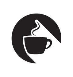 black icon with cup and stylized shadow vector image