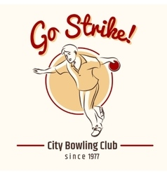 Bowling retro poster vector image