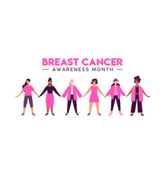 breast cancer awareness diverse girl friend group vector image